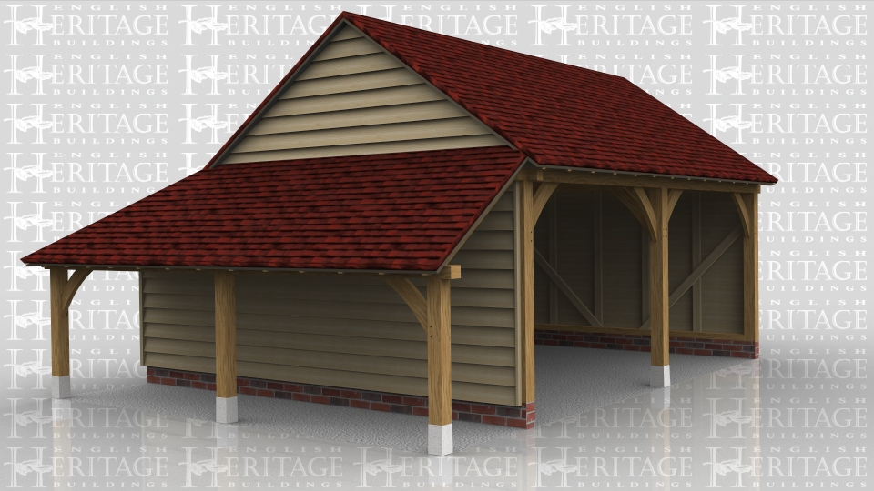 This is an open fronted two bay oak framed garage with gable ends and an enclosed store at the rear and an open one on the left hand side used as a log store.