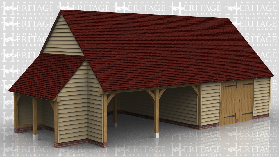 This oak framed building has two open fronted garage bays and two bays partitioned off to form two workshop areas. Each of these workshops has a wide solid door front and rear and the end one has two pane casement windows. The first floor is used for storage and is accessed via a hatch. The building has gable ends and a hay barn style single solid door in the first floor right gable and a small store building on the left hand side.