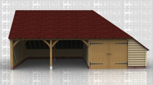 This oak building is a three bay oak framed garage with an enclosed store on the rear and right hand side. There are two open fronted parking bays and the other bay is enclosed with a partition and a pair of standard garage doors.