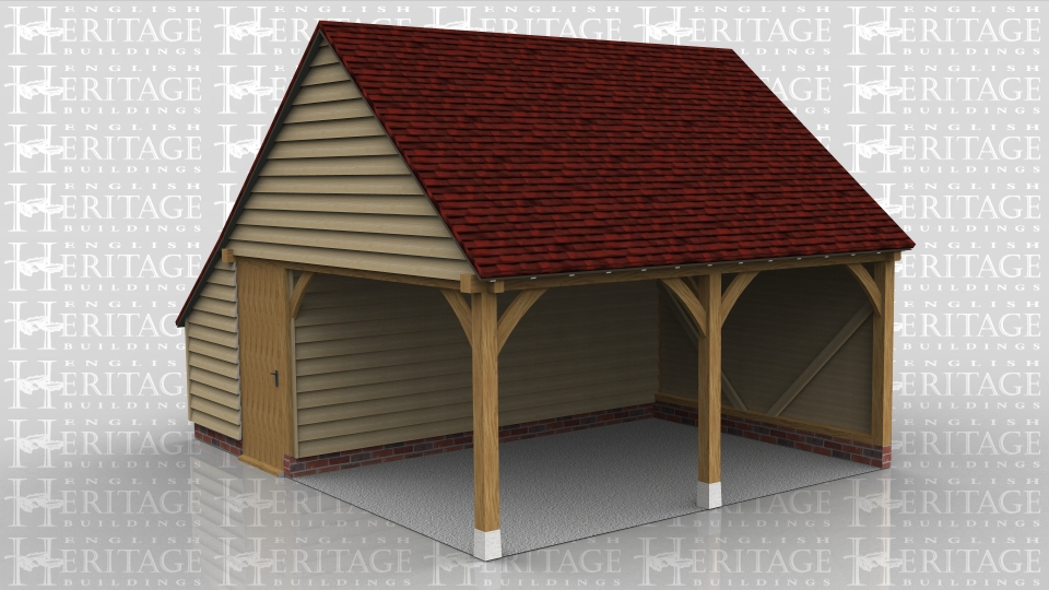 This oak frame is used as a pool side building. It has a shaded sitting area and at the rear are setback partitions to form two changing rooms with toilets. The roof ends are gables and there are solid single doors giving access to the changing rooms.