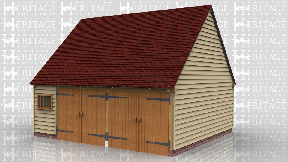 This oak framed garage has two full bays with garage doors on the front and a smaller bay that has a partition and mullion window in the front. There is also a wide solid single door in the left hand side. Two bays are floored and access is via a hatch from the smaller bay. There is also a mullion window in the gable end.