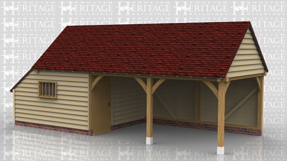 This oak framed leisure building has a covered sitting area and a store room. The store in enclosed and has a solid single door and mullion window. The roof has gable ends and an enclosed store on the left hand side.