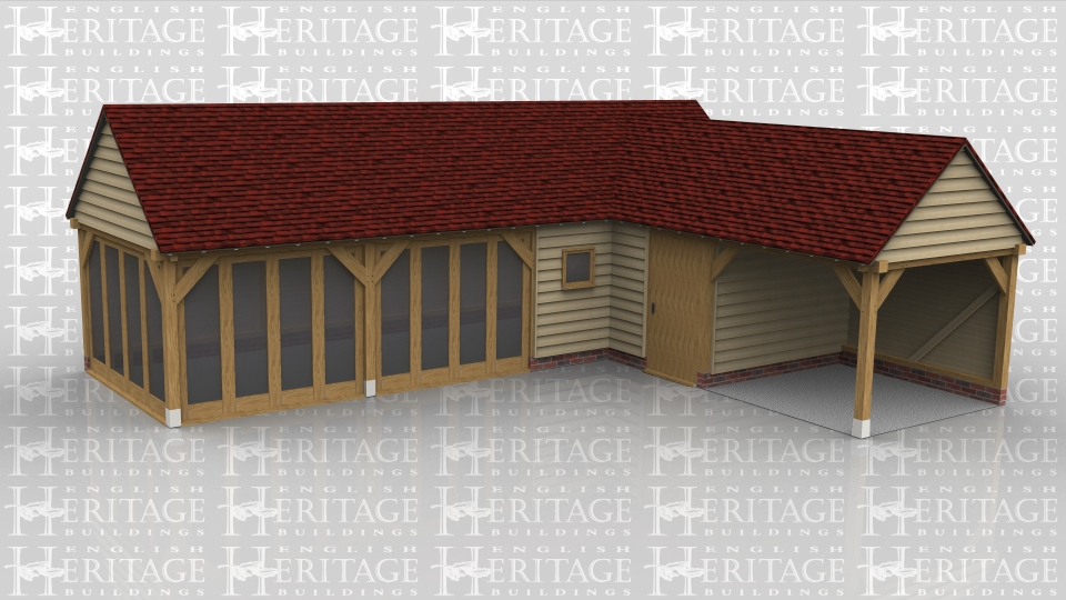 This 'L' shaped oak framed leisure building comprises of a summerhouse/garden room, an enclosed store and an open storage/sitting area. The garden room has full bay glazing on two sides and there is also a single pane casement window. There is also a solid single door into the store area.