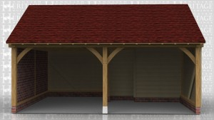 This oak framed garage has two open bays and internal partitions in the right bay to make a small store. This store is accessed via a set of double doors on the right hand side.