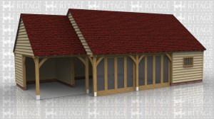 This oak framed home leisure building is comprised of two frames; one is an open garage bay which is attached on the right side to a large three bay garden room with full length glazing to two of the front bays. The third bay is enclosed by partitions and is a store or workshop, with a mullion window to the front and access via a single door on the left.