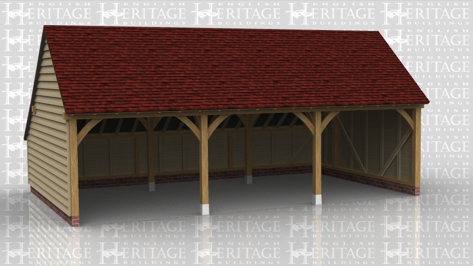 A three bay open oak frame garage