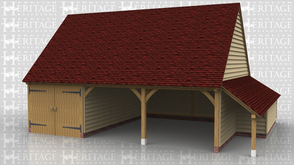 Three bay oak framed garage with one enclosed bay with garage doors, and two open bays. Enclosed logstore to the side and an open logstore to the rear.