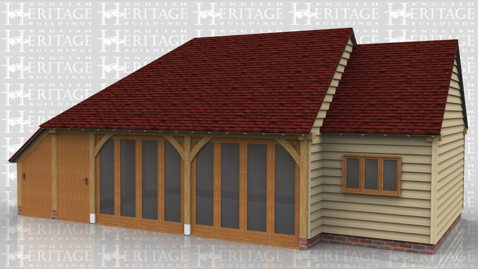 This oak framed home leisure building has one enclosed bay for use as a workshop or a storage facility with an enclosed log store on the side. The other bays have full length windows and the single bay has a mullion window to the front.