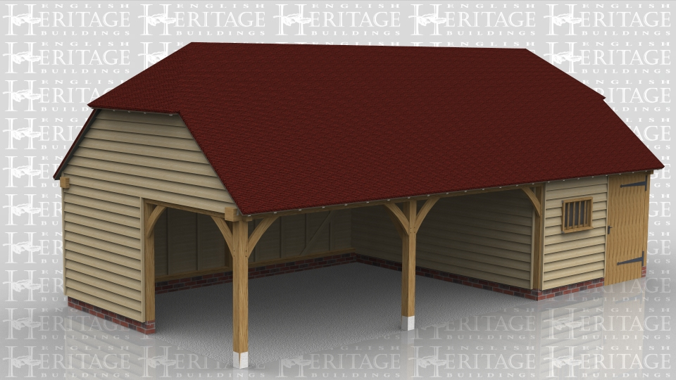 This oak framed garage has three bays, with two open bays and one enclosed. The enclosed bay can function as a storage area or workshop and is accessed by one solid single door to the front.