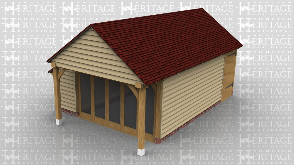 This oak framed home leisure building has one wall of full length windows with a small porch on the end, a small covered logstore to the side and a solid single door to enter the building.