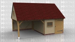 This oak framed garage has two bays, with one enclosed and one open. The enclosed bay is accessed by a single door at the front and a single door at the side. The enclosed bay has a two pane window and a mullion window at the front. The first floor storage area is accessed via a hatch in the building.