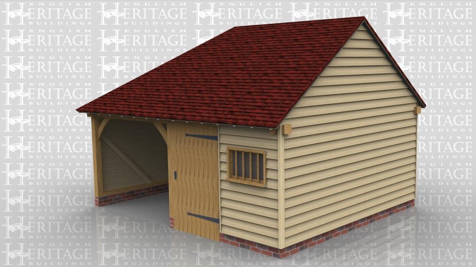 2 bay oak frame garage 1 enclosed workshop storage bay for Two bay garage