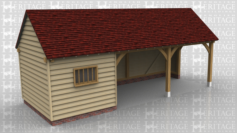 This is an oak framed building with three bays on the left hand side there is two sets of fully glazed units. Two of the bays are open and the other bay is enclosed which can be accessed by the wide door at the rear of the building.