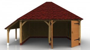 This oak framed garage is formed of two bays; one open and one enclosed. The enclosed bay is accessed via a set of garage doors to the front. There is also an open logstore to the left side.