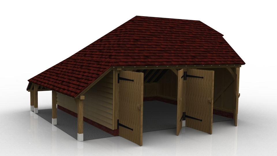 This oak framed two bay garage has enclosed bays with garage doors on the front, and an open logstore to the side. The right bay also has a two pane window.
