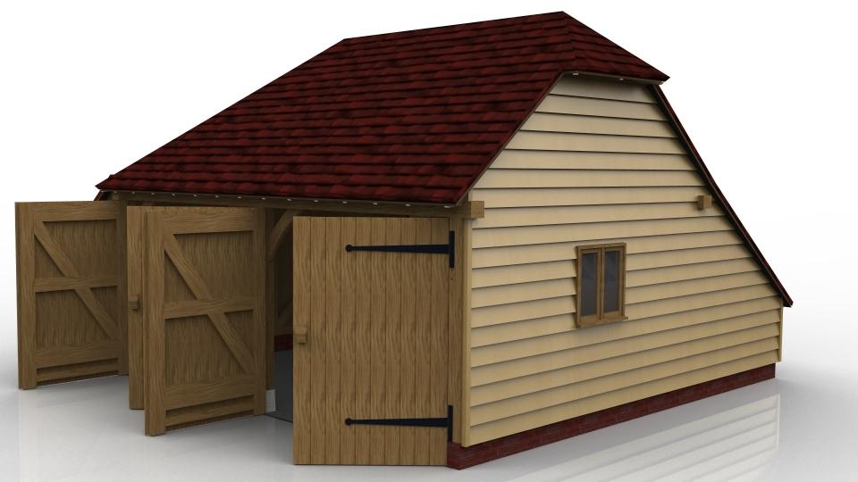 2 bay oak frame garage fully enclosed open logstore for Two bay garage