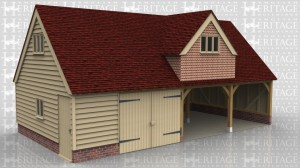 This oak framed garage is formed of four bays, with an upper floor. Two of the bays are enclosed and accessed by a set of garage doors. The other two bays are open to the front. Access to the first floor is via a hatch in the enclosed bays. To the first floor there are three dormers; one to the front and two to the rear.  The front dormer has a three pane window and the rear dormers have two pane windows. The left and right hand sides have a three pane window.
