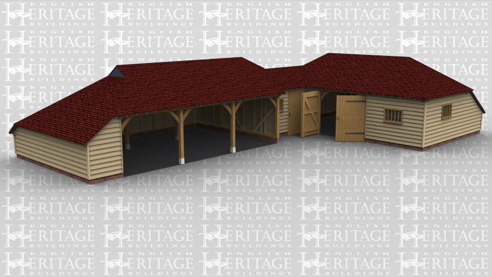 This oak framed complex is designed in an 'L' shape, formed of three different frames. The first frame is a three bay open garage with an enclosed logstore to the left side. The second frame is a small link building, with access via a single door to the front and a mullion window. The third frame is a three bay garage with an enclosed store to the rear. Access is via a set of garage doors to the front and a mullion window to the front and right side.