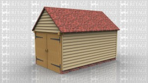 WS00661 Oak framed single bay garage with garage doors
