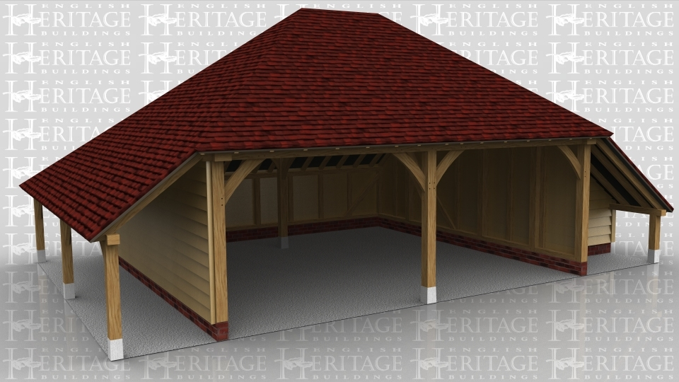This oak framed garage has two open bays and an open logstore to the left. There is an enclosed store to the right, accessed by a small door. There are also trimmings for two rooflights.
