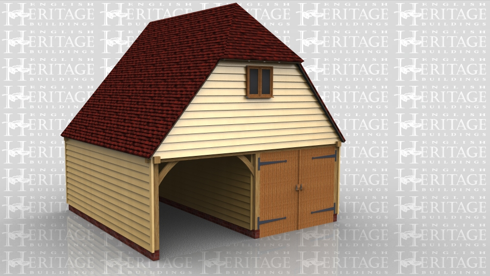 This oak framed garage with first floor has a steep roof pitch for more usable area upstairs. The ground floor is a two bay garage with one bay open and the other bay secure with garage doors. There is also a single door in the central partition and a internal staircase leading up to the first floor.There is a two pane casement window under the barn hip and one Velux rooflight for more natural light.