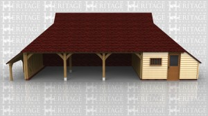 This oak framed garage is formed of four bays, three open and one enclosed. The enclosed bay is accessed via a half glazed door to the front and a mullion window. It is designed to be used as a store or a workshop, and has an enclosed store to the right side. To the left of the building is an open logstore.