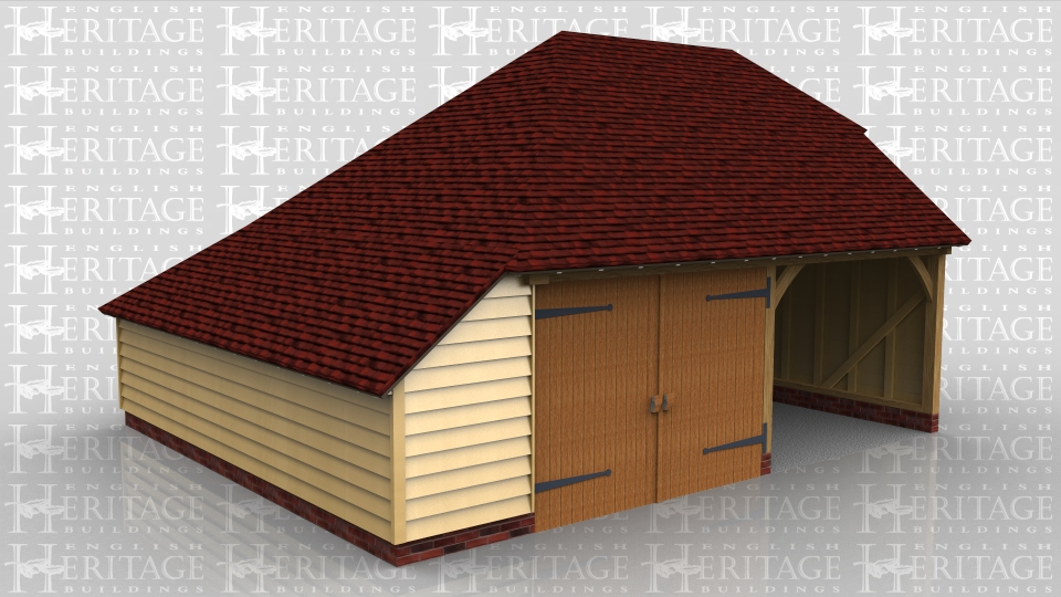 This oak frame two bay garage has one open bay and one enclosed bay secured with garage doors. There is an enclosed log store on the left hand side.