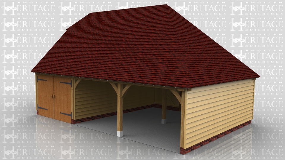 This oak framed garage is formed of three bays, two open and one enclosed. The enclosed bay is accessed by a set of garage doors to the front and a single door to the rear. The two open bays have a single door to the rear.