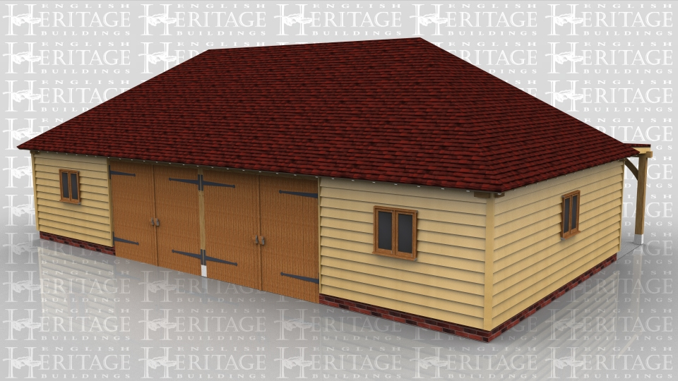 This oak framed four bay garage has two sets of garage doors to the front and a full length flat roof porch to the rear. There are two pane windows to the front, left and right.