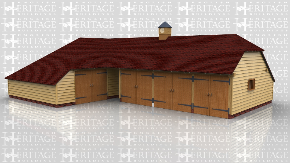 This oak framed garage complex has two buildings, one single bay garage with enclosed log store, and a five bay building with three garage bays and two enclosed storage bays. There is also a clock tower on the right hand building.