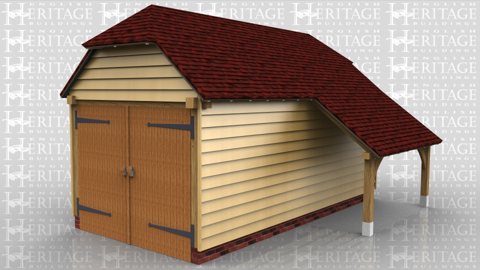 This oak framed garage is formed of two enclosed bays. Access is via a set of garage doors to the left side and there is space for one car to park and an open logstore to the side.