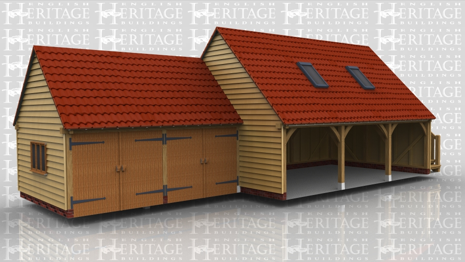 This oak framed garage complex has a two bay enclosed garage to the left and a larger two storey three bay garage with an upstairs accessed by an external oak staircase. There are two garage doors to the rear of the building as well as a single door. There are trimmings for two rooflights.