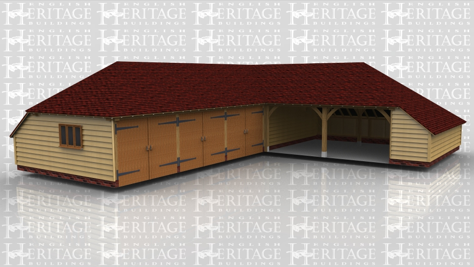 This oak framed garage complex has three enclosed garages with garage doors, and another bay inside for storage. It is attached to the next frame which is a two bay open garage with an enclosed log store to the side.