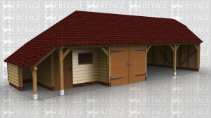 This oak framed garage complex is formed of four bays, two enclosed and two open. The enclosed bays are a small store with a single door to the front, and a garage with a set of garage doors. To the left is a logstore with the rear enclosed. To the rear of the open bays is an enclosed store.