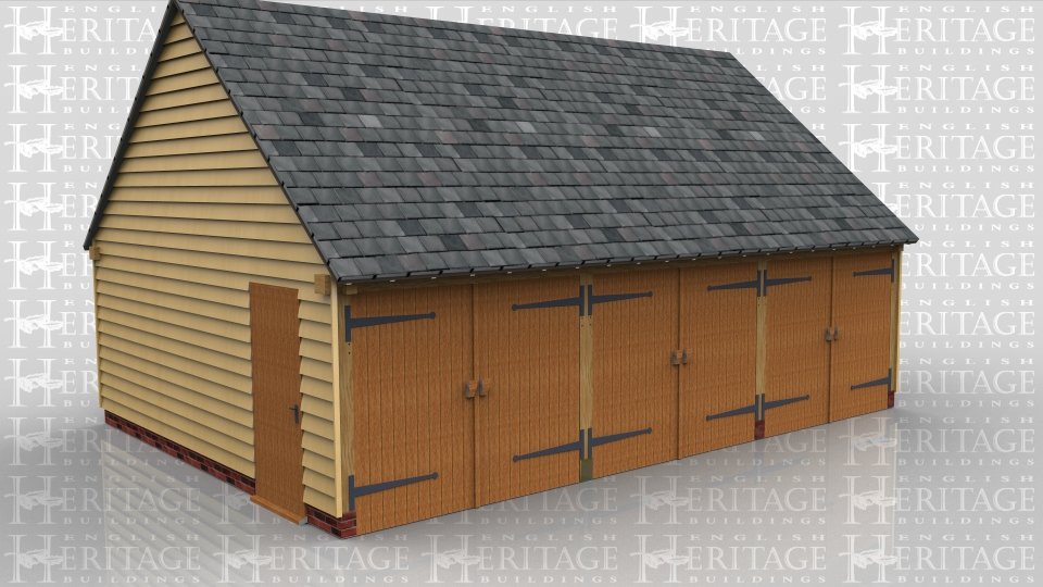 This oak framed three bay garage has enclosed bays, with the end bay separated from the others by an internal wall, so this bay could be used for storage or as a workshop. All two bays have garage doors to the front and the two side bays each have a single door to the side for access. There is also a three pane window on the enclosed bay.