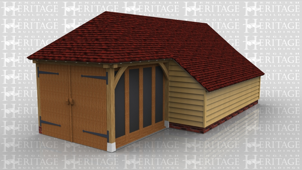 This oak frame home leisure building is fully glazed at the front and has an enclosed logstore.  Access is via a set of garage doors to the left side, although there is also a single door on the right hand side.