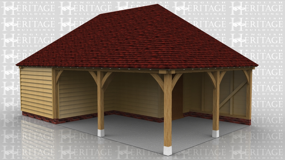 This is a three bay oak framed home leisure building one bay is enclosed which can be accesed by a wide door at the rear of the building or a single door on the left hand side. There is another bay which is open and the other bay has a partition creating a small room which is accessed by a single door. The small room is designed to be used as a store.