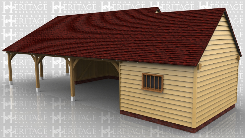 This oak framed garage is formed of two different frames. One is a three bay garage/car port with one bay open to the left side,front and rear. The other bays are open to the front. The other frame is a single enclosed bay, to be used as a store or workshop. Access is via a single solid door to the rear, and there is a mullion window to the front.