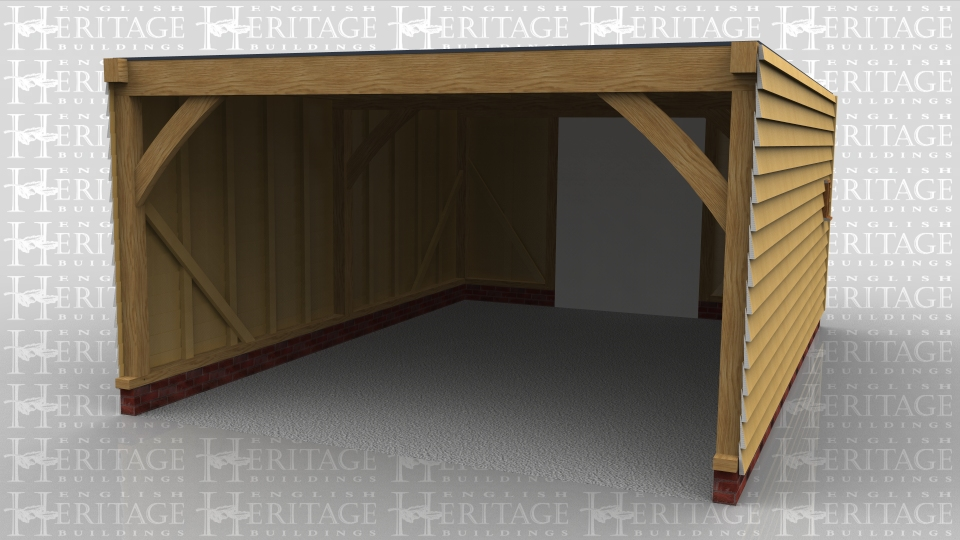 Oak framed three bay open garage. Flat roof and an enclosed logstore on the left hand side.