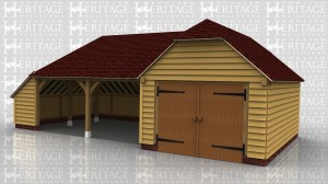 This oak framed garage complex is formed of two frames; the first is a two bay open garage with an enclosed store to the left side and rear. The second frame is a two bay enclosed garage with access to the left end of the building via a set of garage doors.