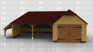 This oak framed garage complex is formed of two different frames. The first is a two bay open garage with an enclosed store to the left and rear. The second is a three bay enclosed garage with a set of garage doors to the left side and an enclosed store to the right.