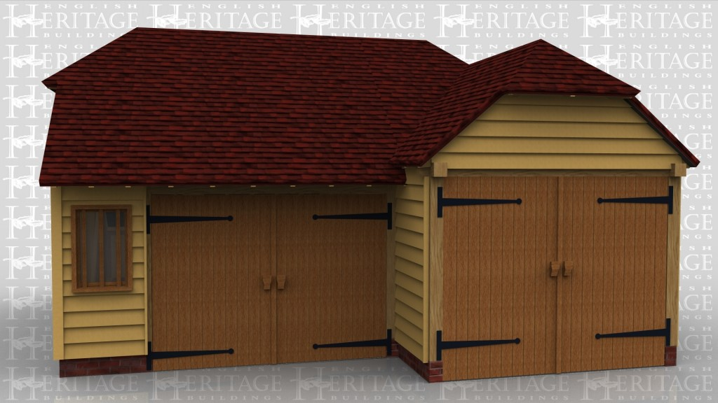 This oak framed garage complex is formed of a single bay garage with a set of garage doors to the front and a small mullion window. There is also an enclosed store to the rear. The second frame is a three bay enclosed garage with a set of garage doors to the left side.