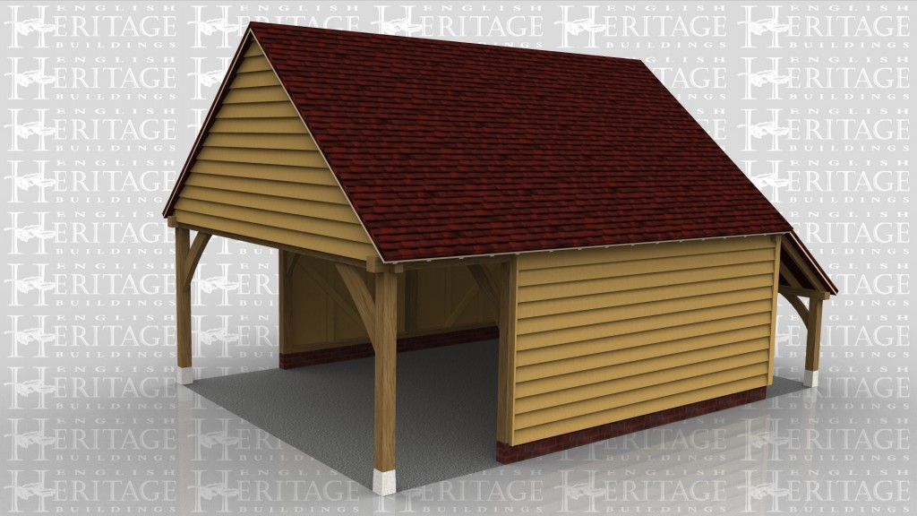 This oak framed garage is formed of two bays; one is enclosed and the other is open to the left hand end and partially open to the front and rear. There is also an open logstore to the right side.
