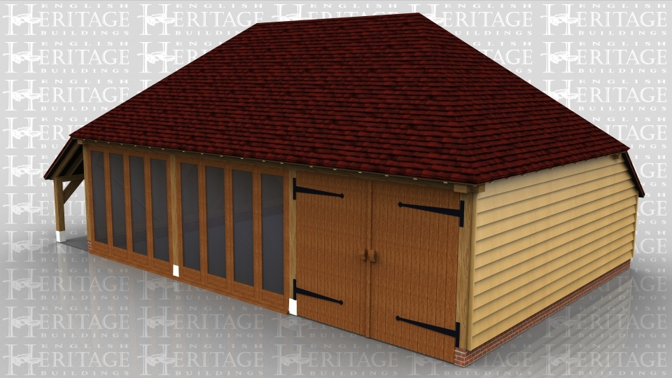 This oak framed garage complex is formed of three bays; one is a garage bay and the other two could be used as a workshop or home leisure building. The two enclosed bays are fully glazed to the front and have an open logstore to the left side. There is also an enclosed store to the rear.