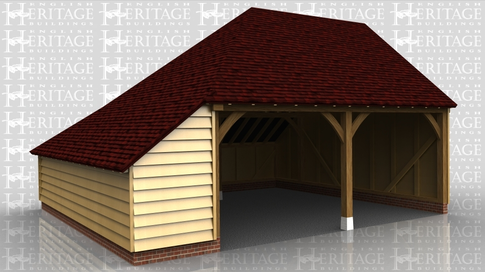 This oak framed garage is formed of two open bays with an enclosed store to the left and rear of the building.