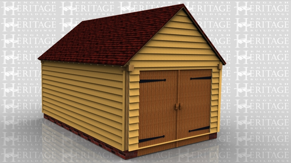 This oak framed garage is formed of two enclosed bays. Access is via a set of garage doors to the left hand end and a single door to the right. To the front and rear there is a mullion window.