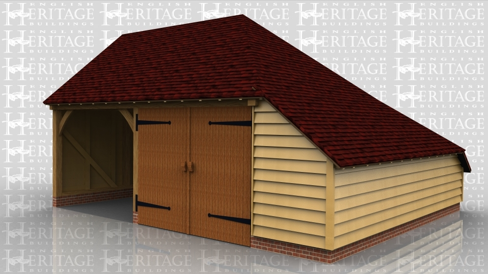 This oak framed garage is formed of two bays; one open and one enclosed. The enclosed bay is accessed via a set of garage doors to the front and has an enclosed store to the right side and the rear.