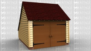 This oak framed garage is formed of one enclosed bay, accessed by a set of garage doors to the front. To the rear there is an enclosed store.