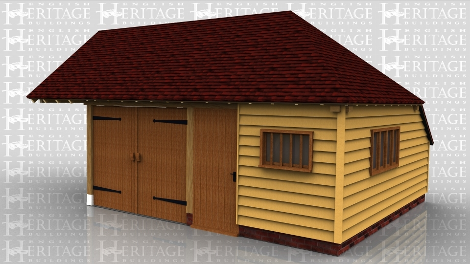 This oak framed garage is formed of two bays, both enclosed. The left hand bay is accessed by a set of garage doors to the front and is left open to the left side to be attached to an existing building. The right hand bay is accessed by a single door to the front and a mullion window to the front and side. There is an enclosed store to the rear.