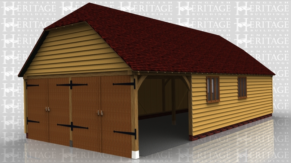 This oak framed garage is formed of four bays,with three enclosed bays and one open. The building is accessed via two sets of garage doors to the left hand side, and a single solid door to the right. There are two three pane windows to the front and one to the right side.